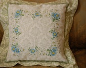 Shabby Chic pillow with soft blue hankie