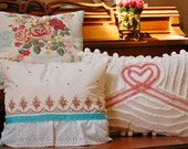 Vintage cottage chic chenille and barkcloth pillow collection