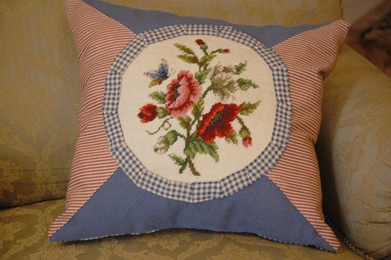Red and blue vintage embroidery pillow