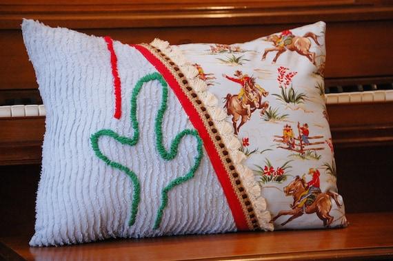 Vintage chenille cactus and cowboy pillow