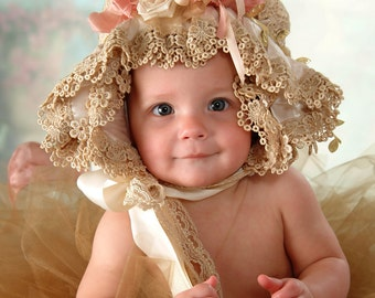 Victorian/Shabby Baby Bonnet