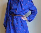 Ascot Tie Abstract Print Dress in Royal Blue and Red Long Sleeves Vintage M/L