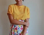 Silk Blouse  /  T Shirt Style Silky Top  /  Marigold Yellow  /  Vintage 80s  /  Small