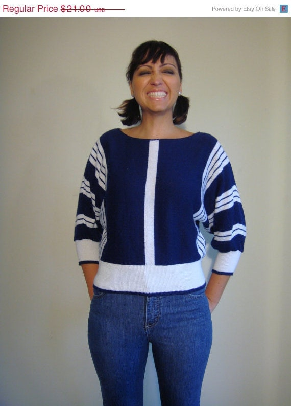 SALE Vintage 70s Nautical Sweater In Navy And White Striped Pattern With Bat Wing Sleeves Medium