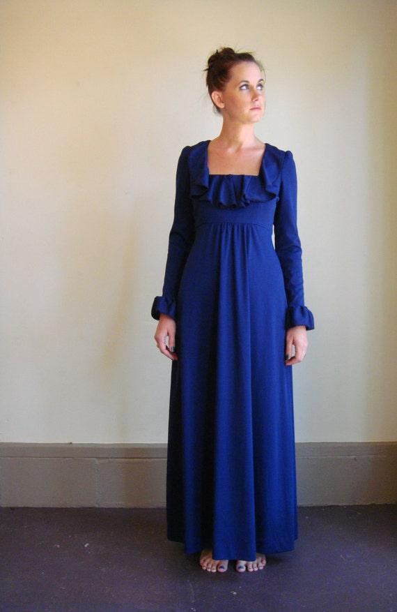 70s Maxi Dress In Hippie Bohemian Royal Blue With Ruffle Details Empire Waist Medium