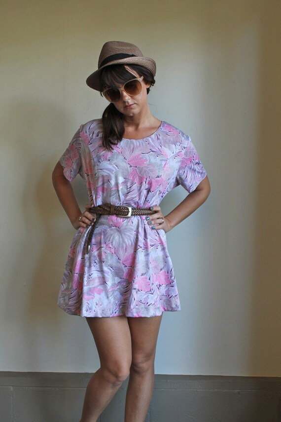 Pastels Tropical Leaves Print Mini Dress Silky Vintage 80s Medium / Large