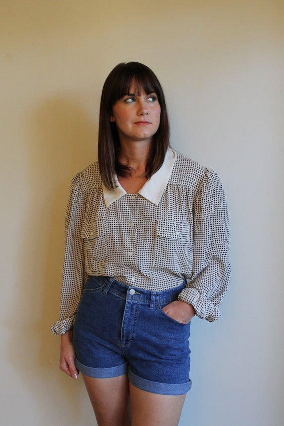 SALE Silky Blouse / Button Down Shirt / Tiny Houndstooth Poet Sleeve / Vintage 80s Large