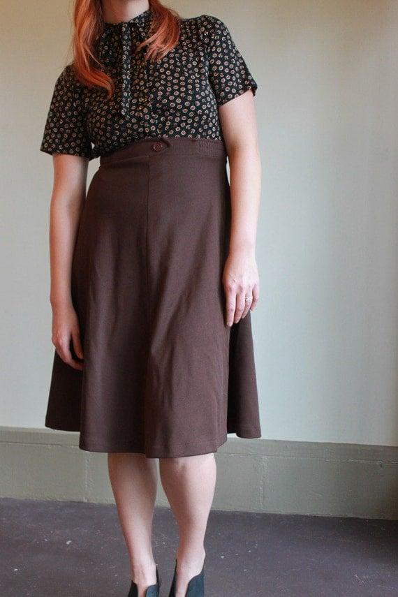 70s High Waisted Skirt  /  Vintage 1970s Brown Aline Knee Length Skirt  /  Large