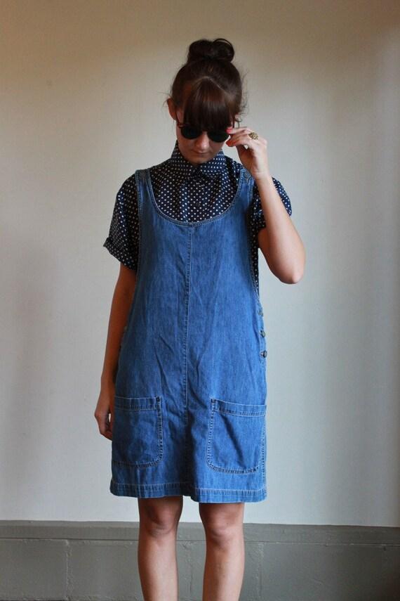 Denim Jumper Dress / Jean Pinafore / Vintage 90s / S or
