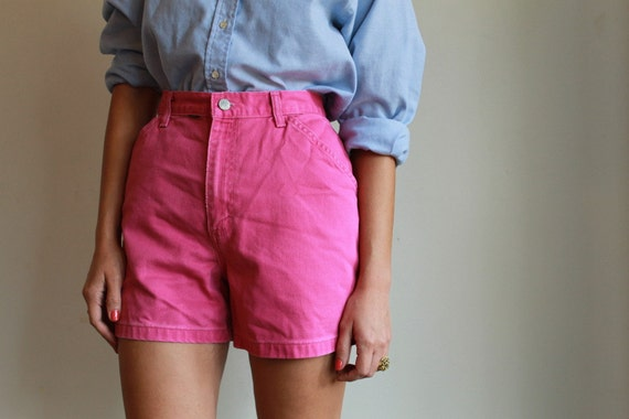 Neon Pink Denim Shorts  /  High Waisted Jean Shorts  /  Vintage 80s  /  L