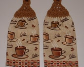 Coffee Mocha Hanging Crochet Top Kitchen Dish Towel Latte Set of 2 Handmade Home Decor