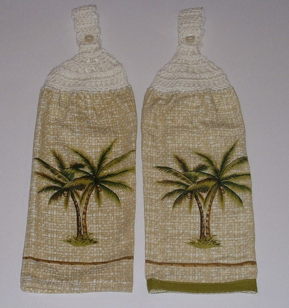 2 PALM TREE Hanging Crochet Top Dish Towel Tropical Kitchen