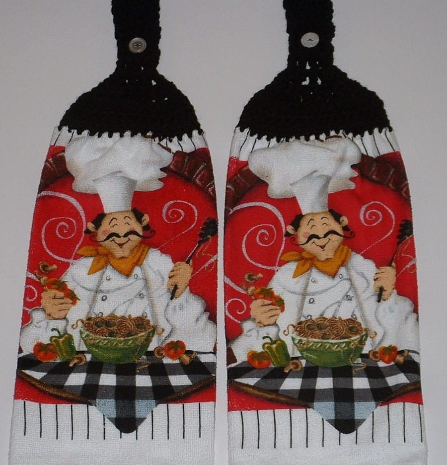 2 Pasta Fat Chef Hanging Crochet Top Kitchen Dish Towel Black