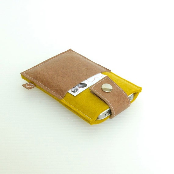 IPHONE COVER classy pocket - Mustard Yellow & tanned leather cardholder - handmade in Holland