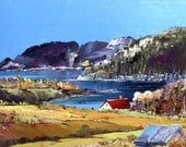 """Canadian landscape, Baie St-Paul, Charlevoix, Quebec,  Original oil painting (12"""" X 16"""") by Shirley Levie"""