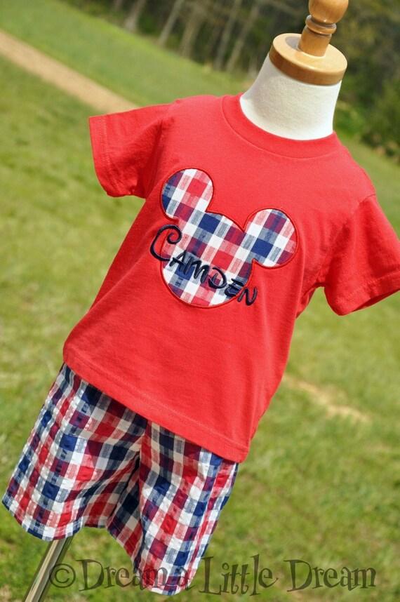 Mickey Mouse Plaid BOYS Shorts sizes 6m-size 6