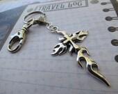 Cross Key Chain  - Christian Key Chain - Biker Key Chain - Unisex - Flaming Cross - Swivel Clip