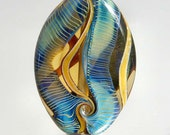 alexbeads Streaming Colours Blues, Greens & Golds Lampwork Organic Focal Bead (1) SRA
