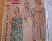 UNCUT FF  Vintage 60s Misses Muu Muu, Nightgown, also as Rockabilly Sundress  Simplicity 3902 Pattern  Size Medium 14-16 Bust 34-36