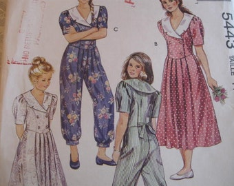 UNCUT FF McCalls 5443 Vintage Girls Dress and Jumpsuit with Double Breasted Bodice  Size 14 Breast 32