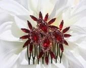 Wedding Hair Accessories,Ruby Red,Bridal Hair Combs,Bridal Hair Accessories,Red Bridal Sash,Red Hair Comb,Red Bridal Hair Piece