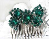 Bridal Hair Comb, Emerald Green, Emerald Hair Comb, Bridal Hair Accessories, Green Hair Comb