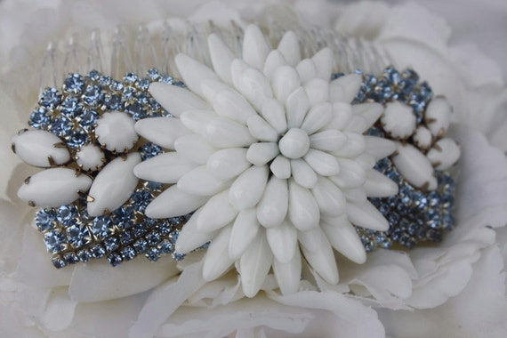 something blue light blue white milk glass vintage one of a kind bridal hair comb flower wedding hair comb floral headpiece custom made