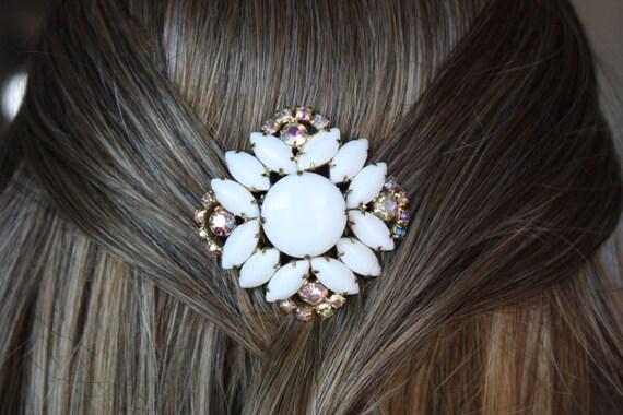white vintage milk glass aurora borealis wedding hair comb bridal hair combs vintage inspired combs bridesmaid gift bridal hair accessories
