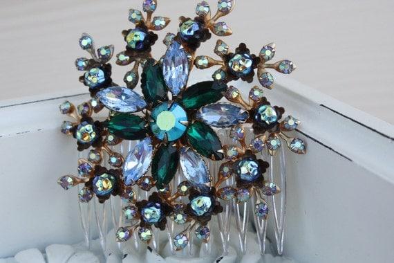 blue hair comb,green hair comb,something blue hair comb,wedding hair comb,bridal hair comb,wedding hair accessories,emerald hair comb,bridal