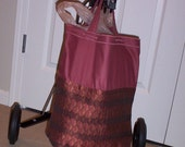 TOTE in cranberry red sateen and gold and wine diamond brocade