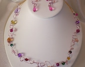 """Woven Wire and Bead NECKLACE & EARRING Set-""""STARDUST"""""""