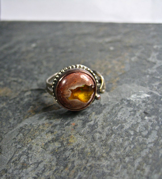 Mixed Metal Ring Mexican Fire Opal Custom Order for A