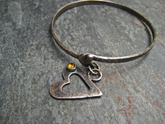 Silver Bangle Bracelet Hammered Charmed