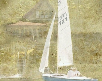 Beach Photography-Coastal Home Decor-Sailing Photography- Afternoon Sail, 5x5 Print