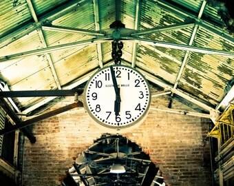 Fine Art Photography, Home Decor, Wall Art, New York City Photography,  Vintage Look Photography, Chelsea Market Clock , NYC art