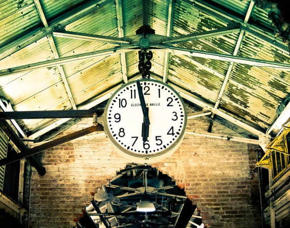 Fine Art Photography, Home Decor, Wall Art, New York City Photography,  Vintage Look Photography, Chelsea Market Clock , NYC art
