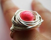 Electric Pink Glass Egg in Bird Nest Ring