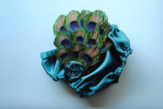 Peacock diaper cover bloomer matching elastic headband feather fascinator rosette and swarovsky crystals