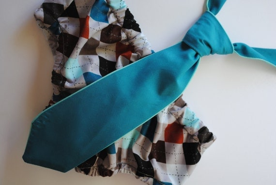 Diaper cover and tie set for baby boy photo prop