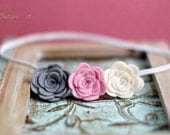 Just Love . Felt Rose Skinny Headband . vintage ivory and girly pink and silver