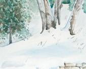 """Birches in Winter, Original Watercolor, 12"""" x 17.5"""""""
