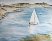 "Sailing on a Pond, Original Watercolor, 22 "" x 30"""