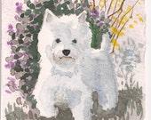 """Casey, Westie Watercolor Print, 4"""" x 6"""""""