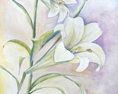 "Lilies, Original Watercolor, on 11"" x 16"" paper"