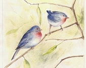 """Bluebirds, Print of Watercolor Painting, 8""""x10"""""""