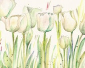 "White Tulips in Long, Green Grass, original watercolor, 10""x8"""