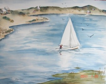"Sailing on a Pond, Original Watercolor, 22 "" x 30"""