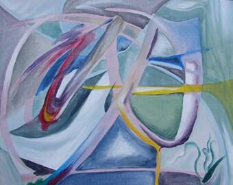 "Lancelot, Original Acrylic Abstract 16"" x 20"""