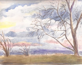 "Early May Morning, Original Watercolor Painting, 9"" x 12"""