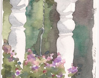 """Grand Rapids Porch with Hanging Flowers, Print of Original Watercolor, 4"""" x 6"""""""
